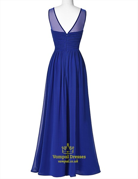 Royal Blue Jewel Neck Sleeveless Beaded Ruched Waist Prom Dress
