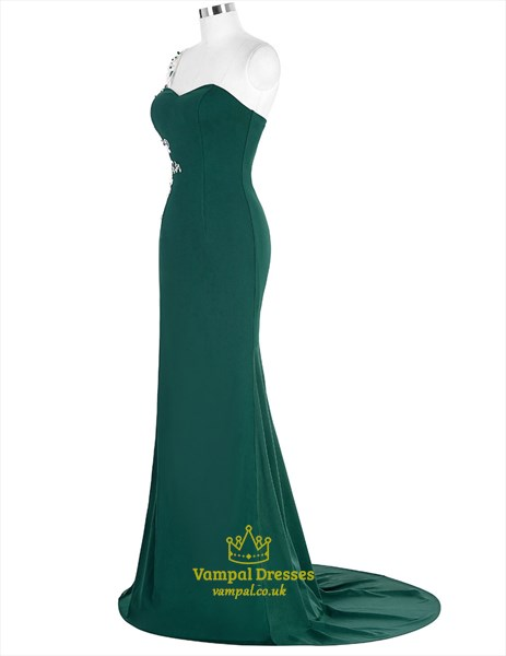Elegant Emerald Green One Sleeve Applique Long Prom Dress With Train