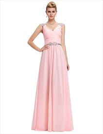 Pink A Line V Neck Cap Sleeve Crystal Ruched Chiffon Prom Dress