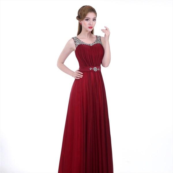 Red Jewel Neck Sleeveless Beaded Ruched Chiffon Long Prom Dress