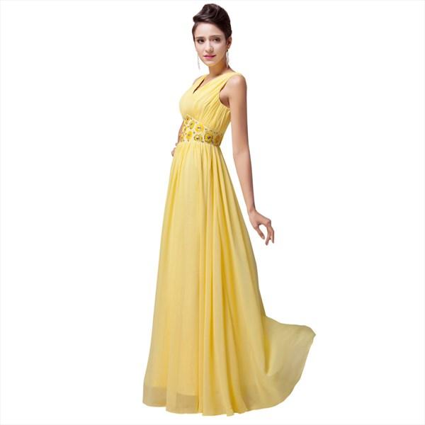 A Line Daffodil V-Neck Sleeveless Beaded Pleated Chiffon Prom Dress
