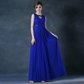 High Neck Sleeveless Keyhole Beaded Ruched A Line Chiffon Prom Dress