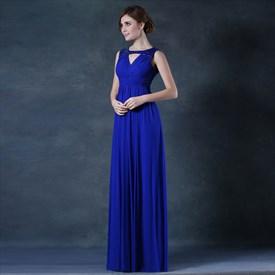 bf7c24d019 A Line Royal Blue High Neck Sleeveless Satin High Low Prom Dresses ...