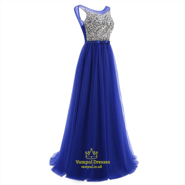 Royal Blue Sleeveless Crystal Long Tulle Prom Dress With Sequins