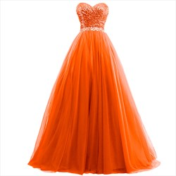 Orange Sweetheart Ruched Ball Gown Tulle Prom Dresses With Sequin