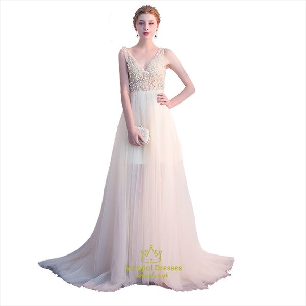 Champagne A Line V Neck Sleeveless Beading Prom Dress With Train