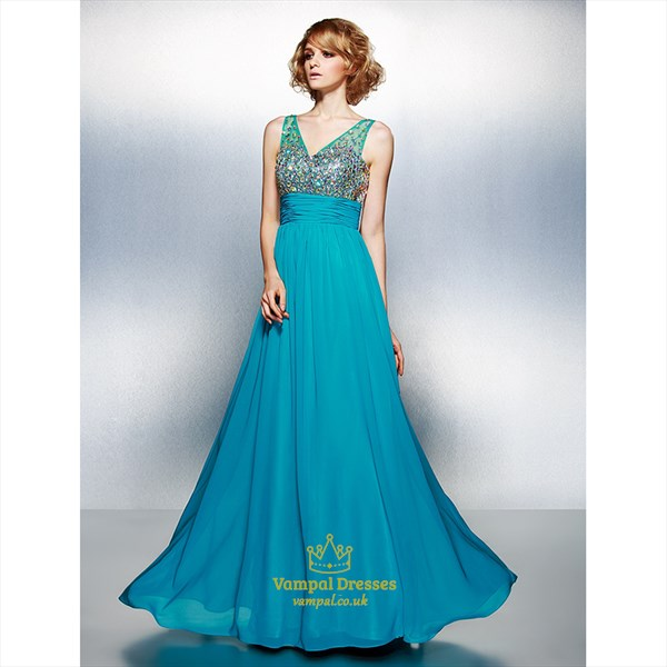 Turquoise V-Neck Sleeveless Rhinestone Ruched Long Chiffon Prom Dress