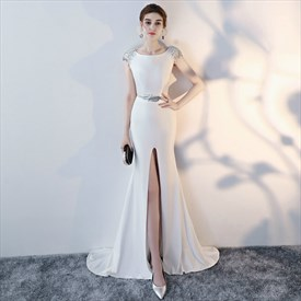 Bateau Neck Cap Sleeve Sequin Embellished Long Prom Dress With Split