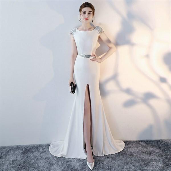 Bateau Neck Cap Sleeve Sequin Embellished Long Prom Dress With Split