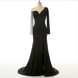 Black One Shoulder Long Sleeve Mermaid Prom Dress With Slit and Train