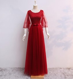 A Line Red Flutter Sleeve Beaded Floor Length Tulle Prom Dress