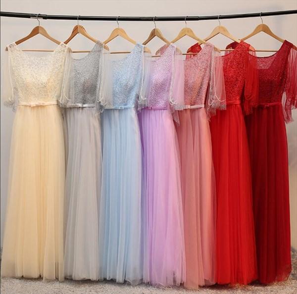 A Line Red Flutter Sleeve Beaded Floor Length Tulle Prom Dress