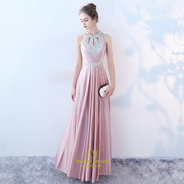 Pink Halter Neck Keyhole Sequin Embellished Pleated Satin Prom Dress