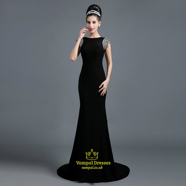Black High Neck Cap Sleeve Open Back Sheath Prom Dress With Train