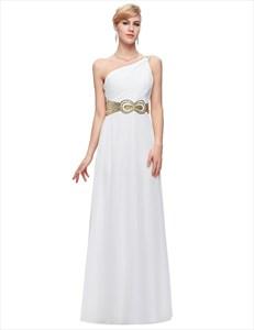 One Shoulder Ruched Sleeveless Sequin Embellished Chiffon Prom Dress