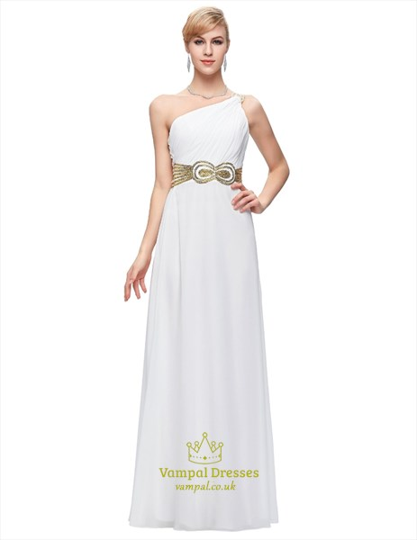 One Shoulder Ruched Sleeveless Sequin Embellished Chiffon Prom Dress
