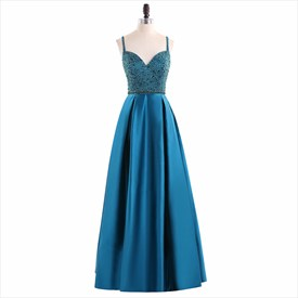 A Line Turquoise Spaghetti Strap Sleeveless Beaded Satin Prom Dress