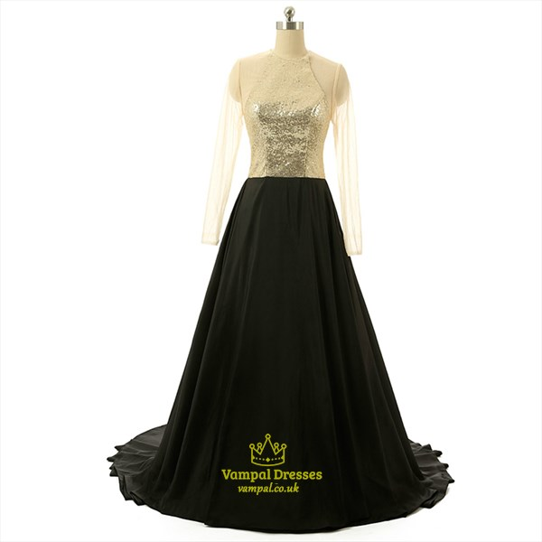 Black High Neck Keyhole Sheer Long Sleeve Floor Length Prom Dress