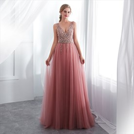 Peach V Neck Sleeveless Beaded Tulle Long Prom Dress With Split