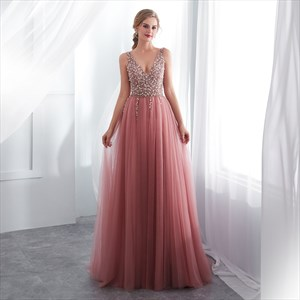 Peach V Neck Sleeveless Beaded Tulle Long Prom Dress With Split