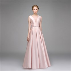 Simple A Line Pink V Neck Sleeveless Pleated Satin Prom Dress