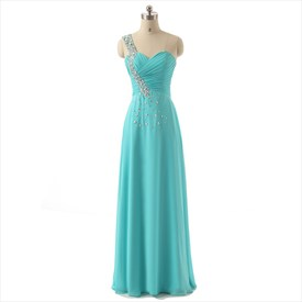 Light Blue One Shoulder Sleeveless Beaded Ruched Chiffon Prom Dress