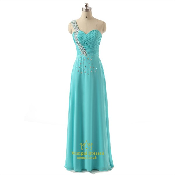 Light Blue One Shoulder Sleeveless Beaded Ruched Chiffon Prom Dress