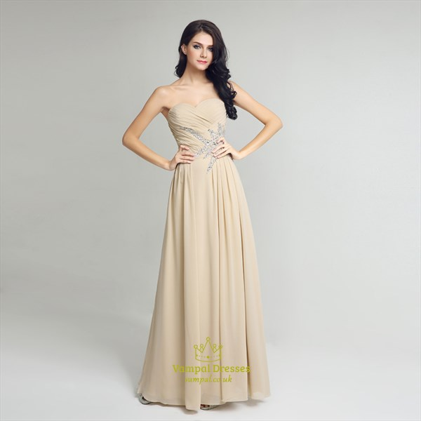 Beige Sweetheart Sleeveless Ruched Beaded Long Chiffon Prom Dress