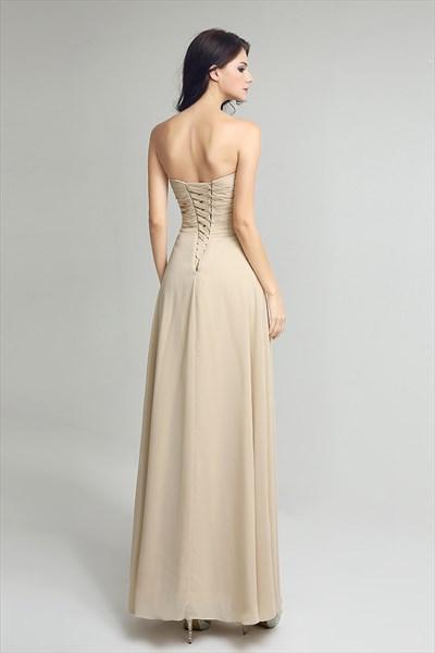 Beige Sweetheart Sleeveless Ruched Beaded Long Chiffon Prom Dress