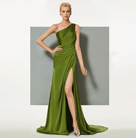 Lime Green One Shoulder Ruched Satin Prom Dress With Split And Train