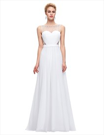 White Bateau Illusion Back Beaded Ruched Waist Chiffon Prom Dress