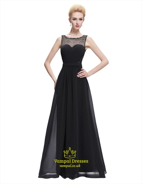 White Bateau Illusion Back Beaded Ruched Waist Chiffon Prom Dress