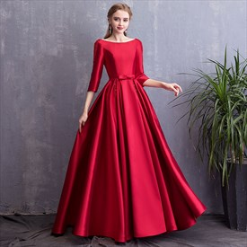 Elegant Bateau Neck 3/4 Sleeves Beaded Satin Prom Dress With Pockets