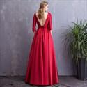 Elegant Bateau Neck 3/4 Sleeves Beaded Satin Prom Dress With Pockets
