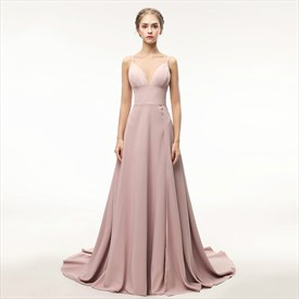 Simple Spaghetti Strap Sleeveless Prom Dress With Split And Train