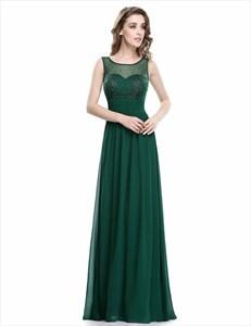 Green A Line Bateau Sleeveless Beaded Ruched Waist Chiffon Prom Dress