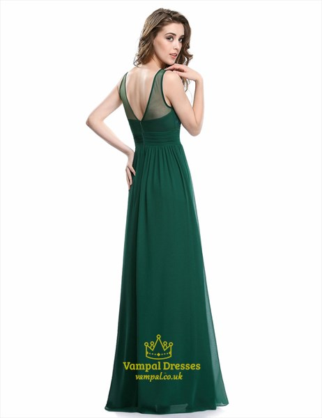 Green A Line Bateau Sleeveless Beaded Ruched Waist Chiffon Prom Dress