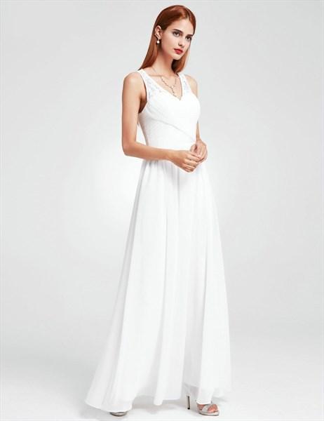 A Line White V Neck Sleeveless Ruched Floor Length Chiffon Prom Dress