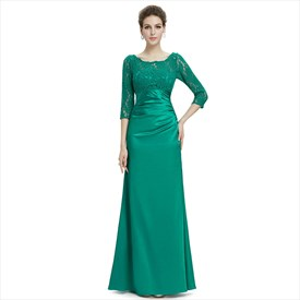 Green Bateau Neck Half Sleeve Ruched Sheath Floor Length Prom Dress