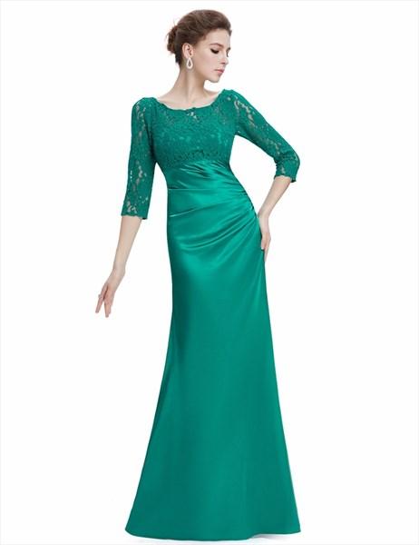 Green Bateau Neck Half Sleeve Ruched Sheath Floor Length Prom Dress