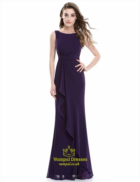 Purple Bateau Neck Sleeveless Sheath Floor Length Chiffon Prom Dress
