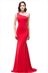 Simple Red One Shoulder Sleeveless Sheath Mermaid Prom Dress