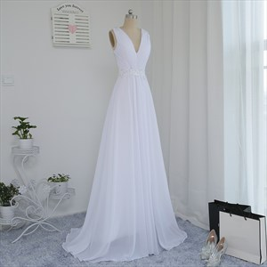 White A Line V Neck Beading Applique Ruched Long Chiffon Prom Dress