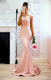 Pink Halter Neck Sleeveless Applique Mermaid Prom Dress With Train