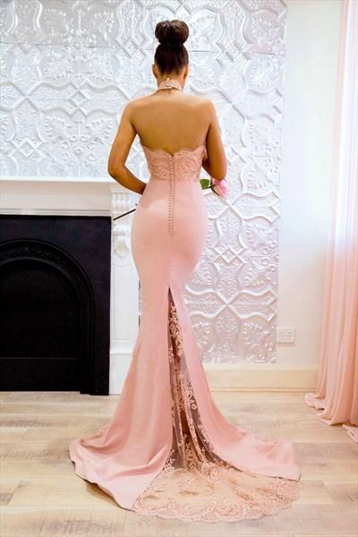 Pink Halter Neck Sleeveless Applique Mermaid Prom Dress With Train