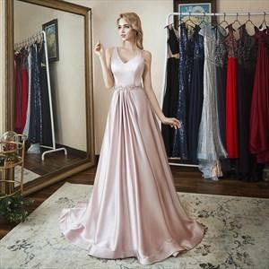 Elegant A Line V Neck Sleeveless Beaded Floor Length Satin Prom Dress