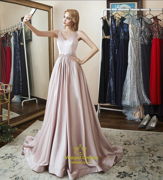 Elegant A Line V Neck Sleeveless Beaded Floor Length Satin Prom Dress