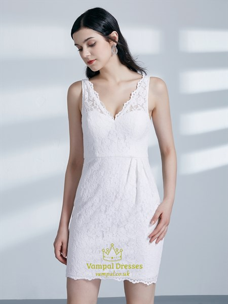 Simple White V Neck Sleeveless Sheath Lace Overlay Short Prom Dress