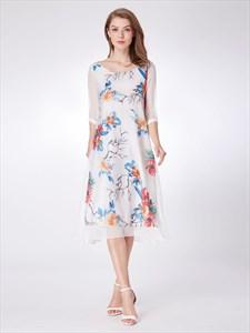 Vintage A line Jewel Neck 3/4 Sleeve Tea Length Floral Print Dress