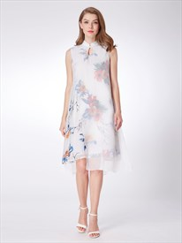 High Neck Keyhole Sleeveless Chiffon Print Short Dress With Split